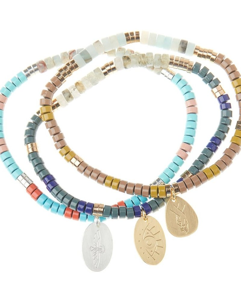 Scout Curated Wears Scout Rhodonite Stone Intention Charm Bracelet in Gold