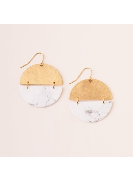 Scout Curated Wears Howlite & Gold Full Moon Stone Earrings
