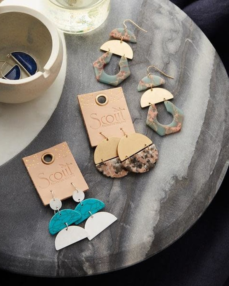 Scout Curated Wears Scout Howlite & Gold Full Moon Stone Earrings