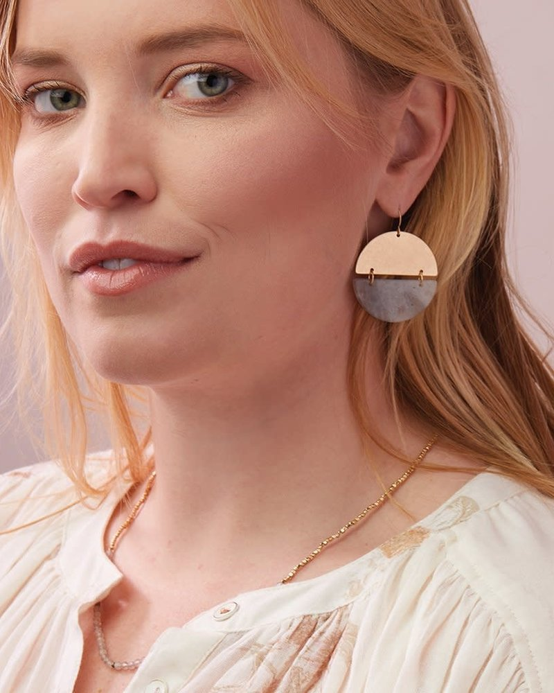 Scout Curated Wears Scout Howlite & Silver Full Moon Stone Earrings
