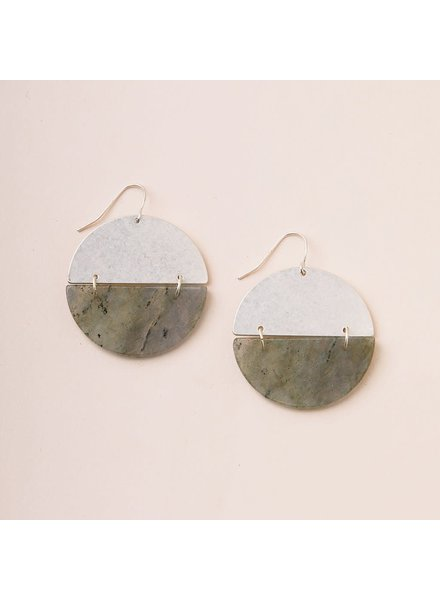 Scout Curated Wears Labradorite & Silver Full Moon Stone Earrings