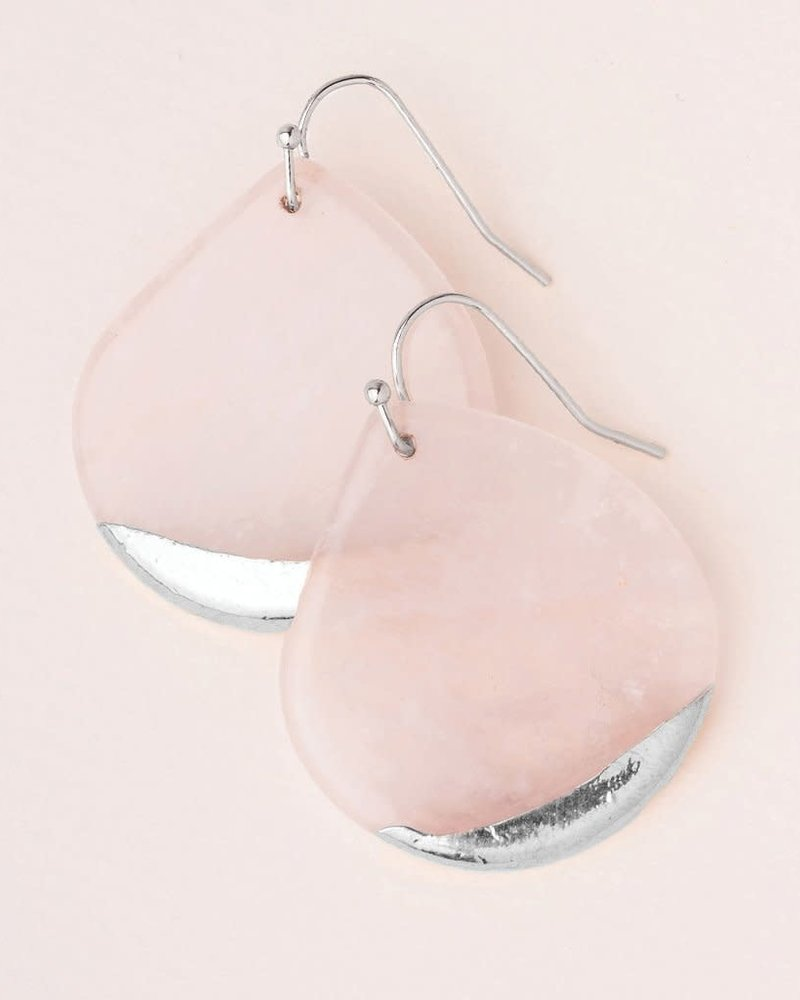 Scout Curated Wears Scout Rose Quartz & Silver Stone Dipped Teardrop Earrings