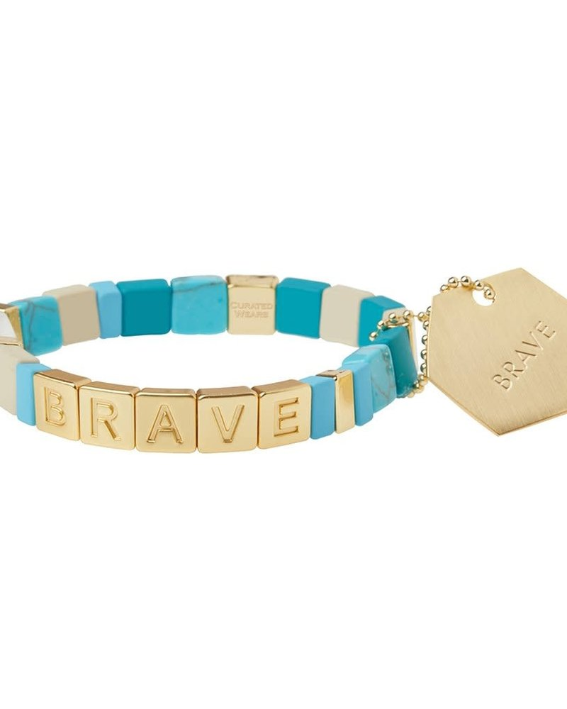 Scout Curated Wears Scout Empower Bracelet | Brave in Gold/Turquoise/Howlite