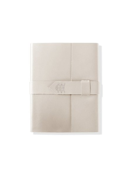 Fringe Studio Stitched Faux Leather Embroidered Wrap Journal | Ivory