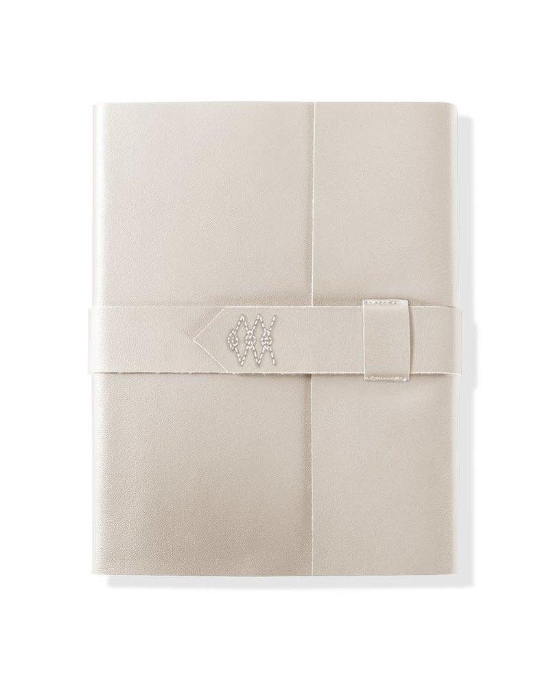 Fringe Studio Fringe Studio Stitched Faux Leather Embroidered Wrap Journal | Ivory