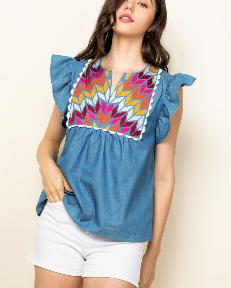 THML THML 'Birds Of A Feather' Flutter Sleeve Top