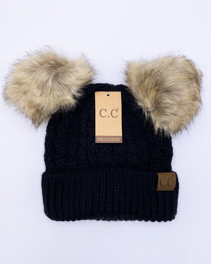 CC Ribbed Beanie with Double Pom Hat **FINAL SALE**