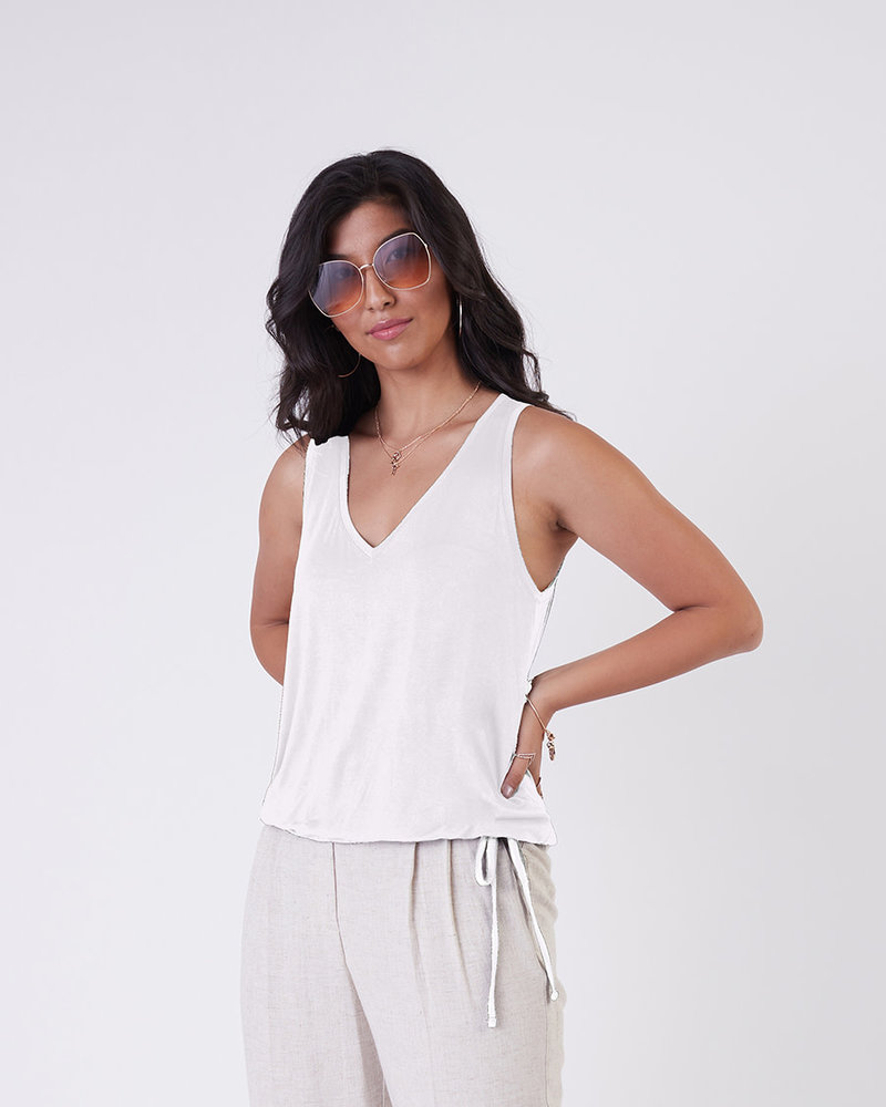 Black Tape Black Tape 'White Out' Drawstring Hem Tank