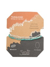 Scout Curated Wears Turquoise & Silver Delicate Stone Wrap Bracelet/Necklace