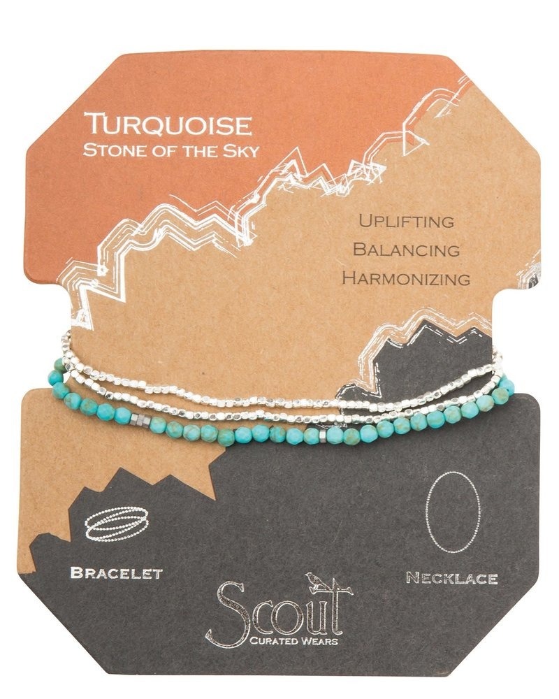 Scout Curated Wears Scout Turquoise & Silver Delicate Stone Wrap Bracelet/Necklace