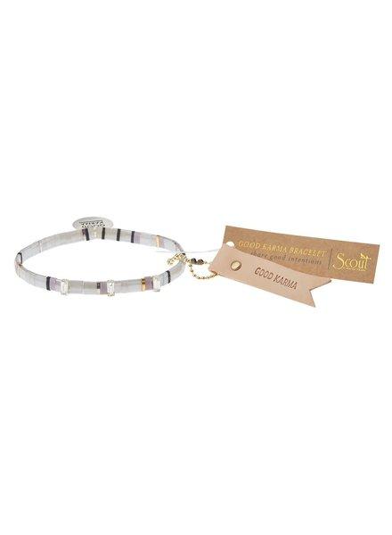 Scout Curated Wears Good Karma Miyuki Charm Bracelet - Good Karma in Cloud/Sparkle/Silver