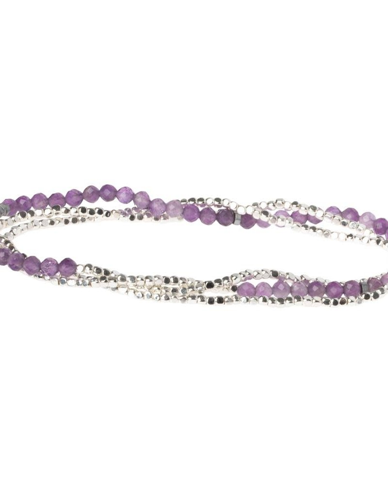 Scout Curated Wears Scout Amethyst & Silver Delicate Stone Wrap Bracelet/Necklace