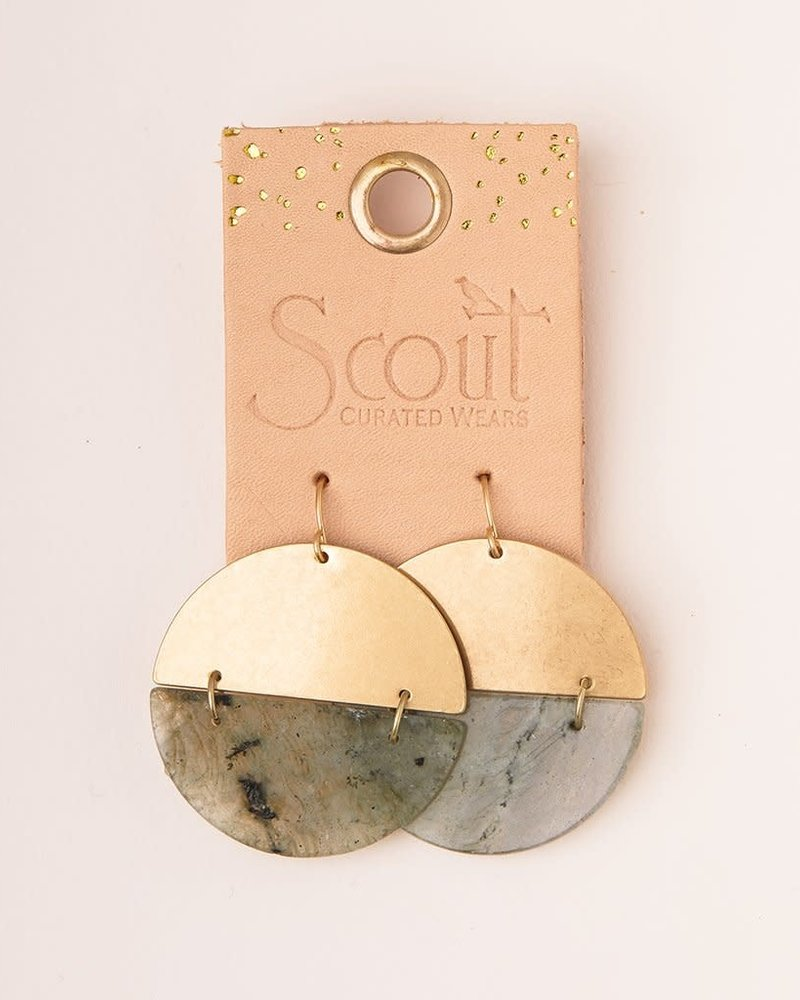 Scout Curated Wears Scout Stone Rhodonite & Gold Full Moon Earrings