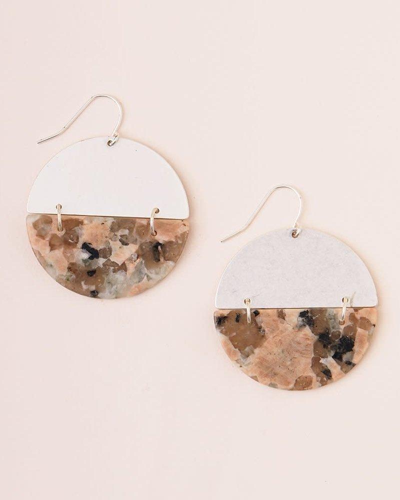 Scout Curated Wears Scout Stone Rhodonite & Silver Full Moon Earrings