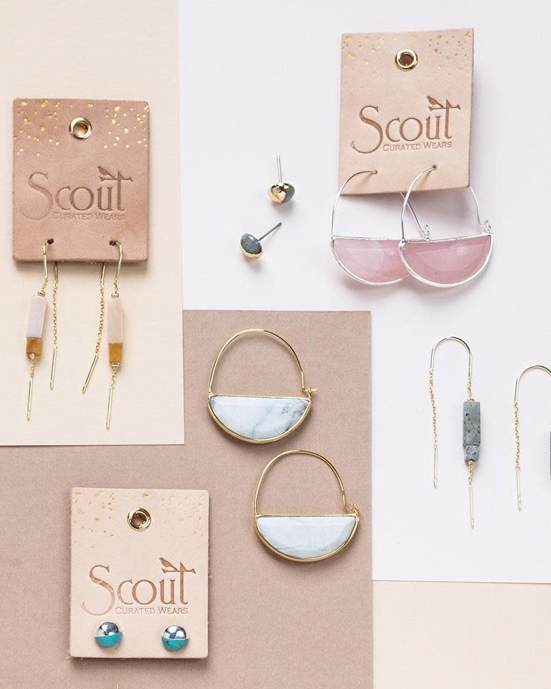 Scout Curated Wears Scout Turquoise/Black & Silver Rectangle Stone Thread Earrings