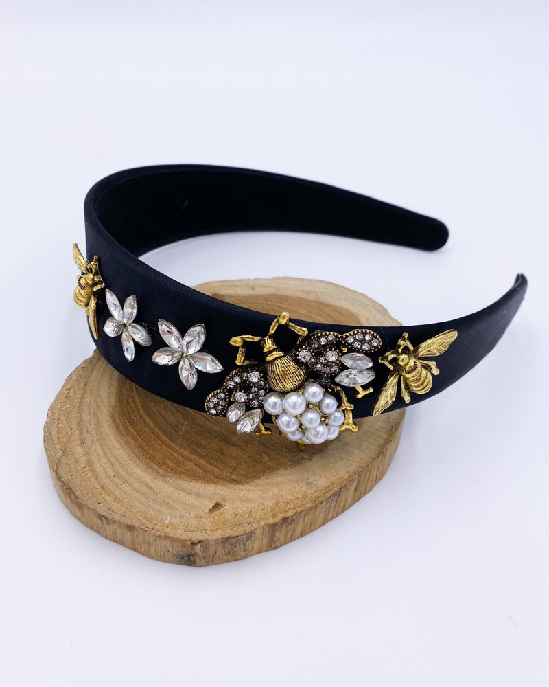 Belle Up 'Queen Bee' Embellished Headband | Black