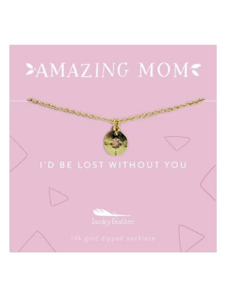 Lucky Feather Lucky Feather Amazing Mom Necklace | Compass