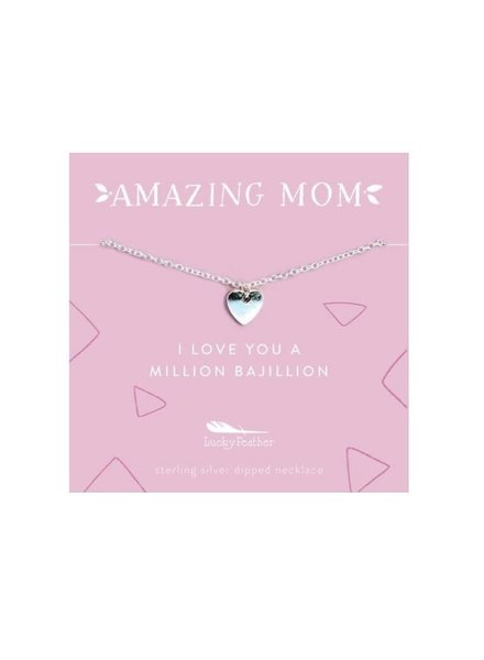 Lucky Feather Amazing Mom Necklace | Love Heart