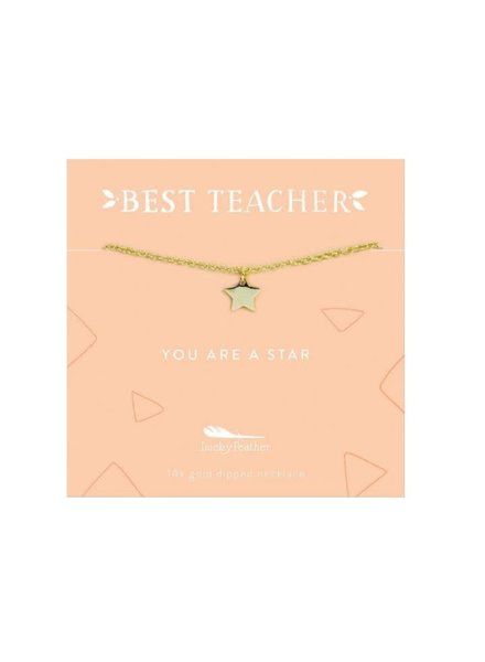 Lucky Feather Best Teacher Necklace | You're A Star