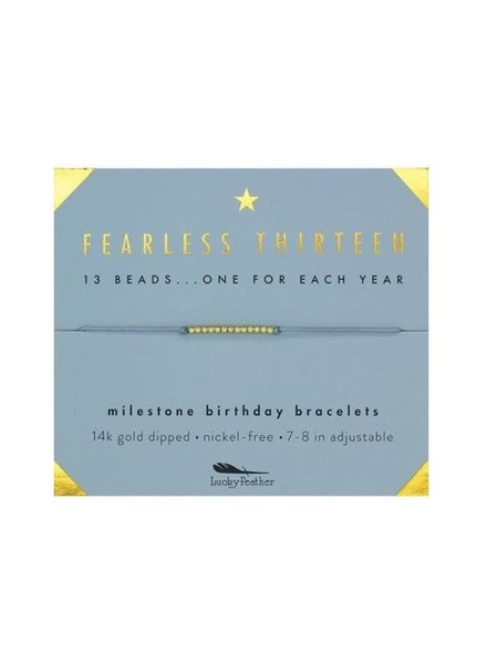 Lucky Feather Milestone Birthday Bracelet - Fearless Thirteen