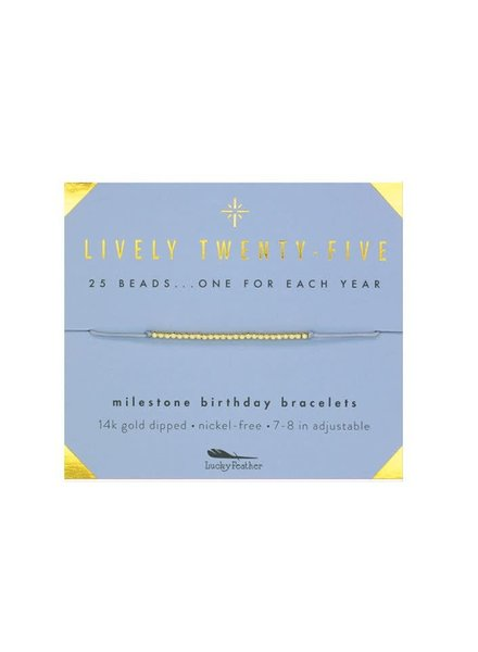 Lucky Feather Milestone Birthday Bracelet - Lively Twenty-Five