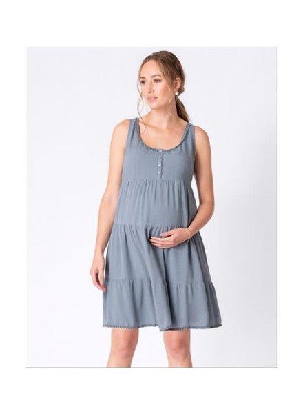 Seraphine Maternity Blue 'Brandie' Tiered Summer Dress