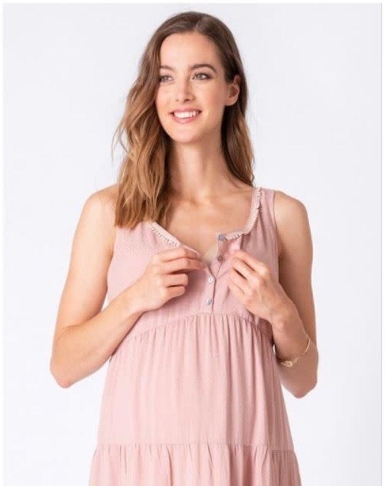 Seraphine Maternity Seraphine Maternity Pink 'Brandie' Tiered Summer Dress