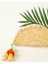 Funky Monkey Rattan Crescent Clutch   Floral