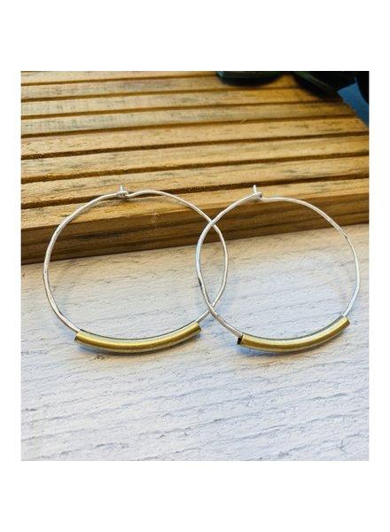 Lauren Lane 'Lindsay' Two-Tone Wire Hoop Earrings
