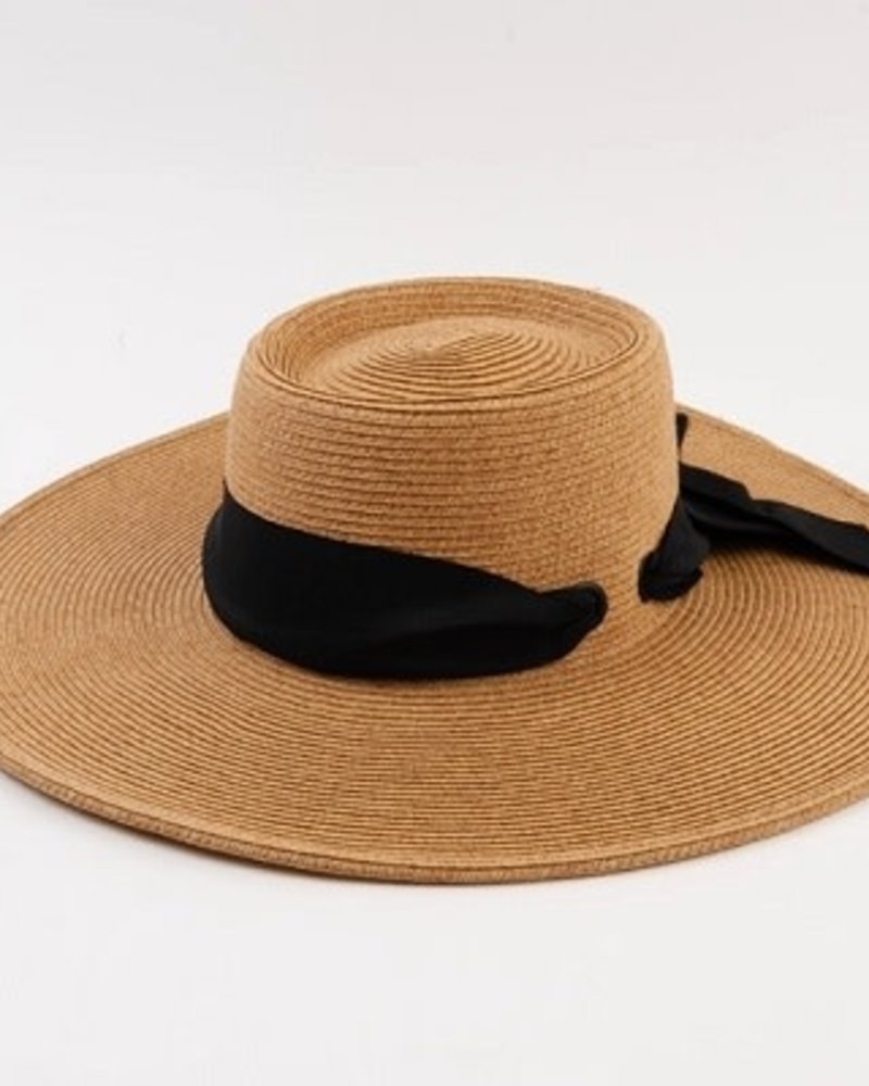 Lucca Couture Lucca 'Caspian' Boater Hat | Black Sash