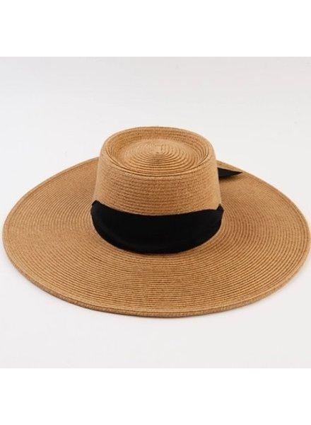 Lucca Couture 'Caspian' Boater Hat | Black Sash **FINAL SALE**