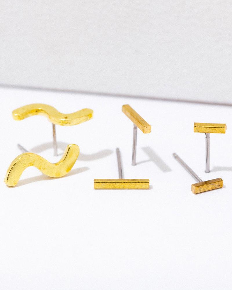 Larissa Loden Larissa Loden 'Lines' Post Earrings (Pack of 3)