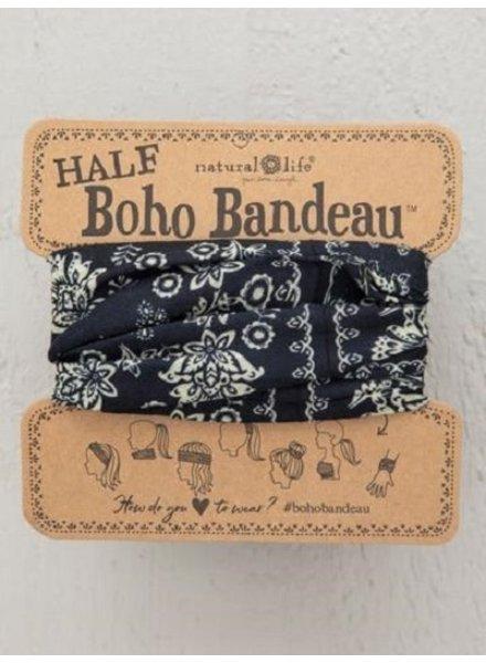 Natural Life Half Boho Bandeau in Cream Black Mandala