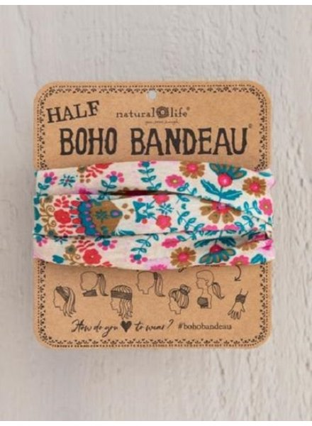 Natural Life Half Boho Bandeau in Cream Floral Mandala