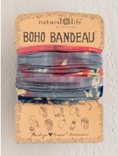 Natural Life Boho Bandeau in Grey & Coral Tie-Dye