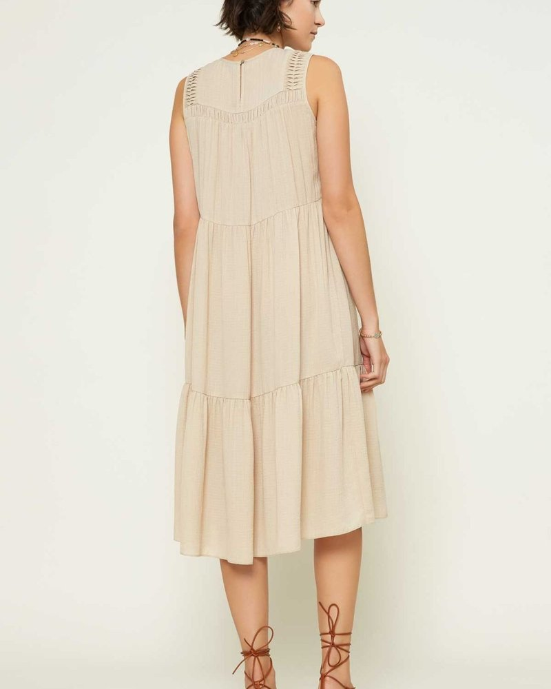 Current Air Current Air 'What the Tuck' Crinkled Pintuck Midi Dress