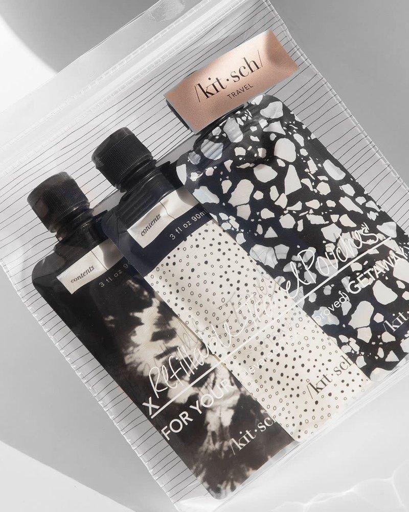 KITSCH Kitsch Refillable Travel Pouches (3pc) Set   Black & Ivory