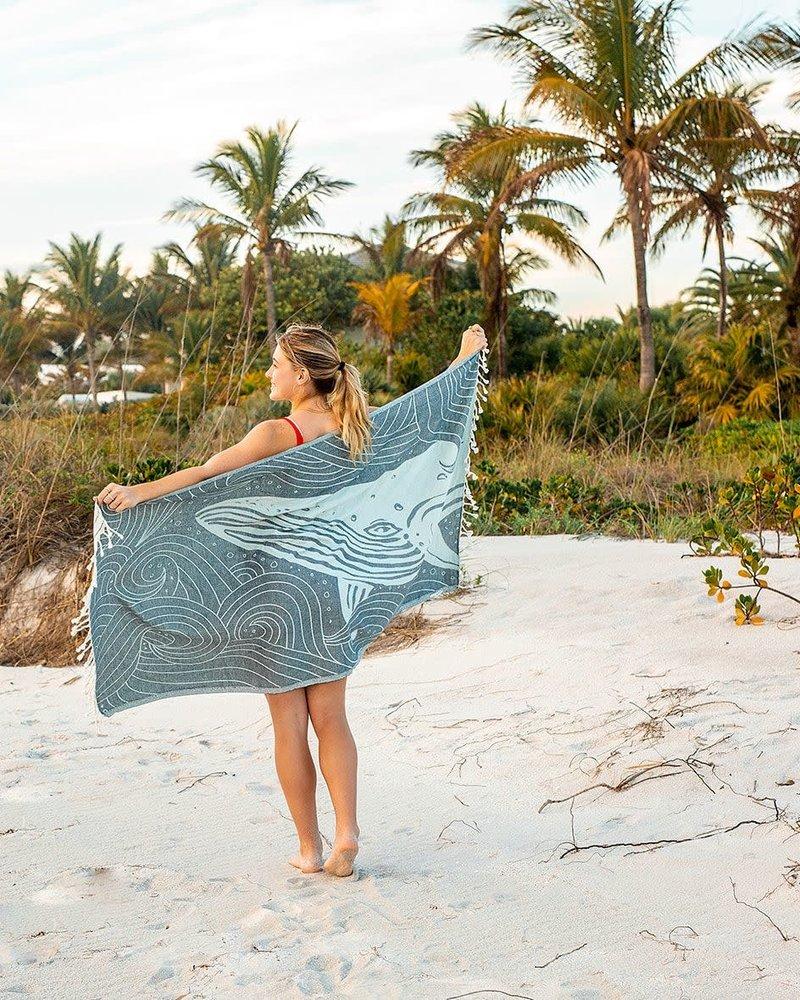 Sand Cloud Sand Cloud 'Blue Swirl Waves Whale' Towel