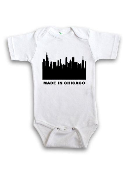 Anne Cate Black Skyline 'Made In Chicago' Onesie