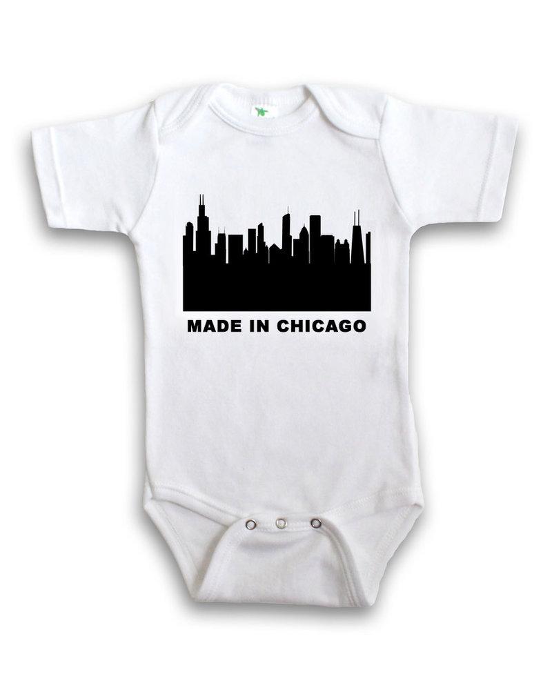 Anne Cate Anne Cate Black Skyline 'Made In Chicago' Onesie