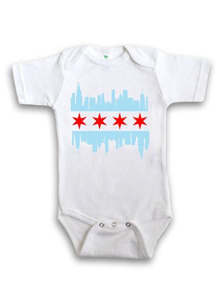 Anne Cate Chicago Skyline Flag Onesie