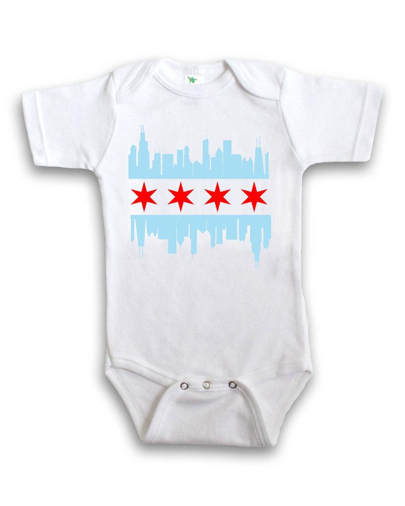 Anne Cate Anne Cate Chicago Skyline Flag Onesie