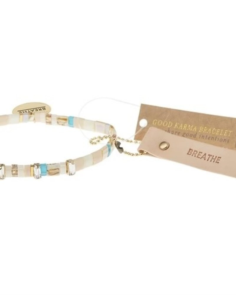 Scout Curated Wears Scout Breathe Ivory/Sparkle/Gold Good Karma Miyuki Charm Bracelet