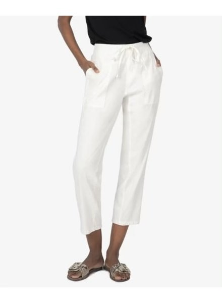 Kut from the Kloth White Smocked Drawcord Pant