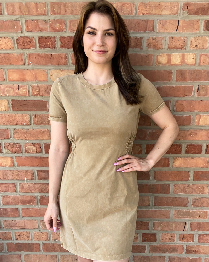 RD Style RD Style Tan Acid Wash 'Skate On By' Knit Dress