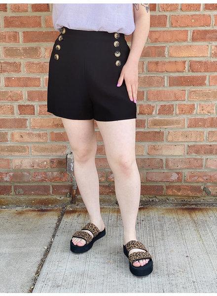 KLD Signature Black 'Sail Away' Button Front Shorts