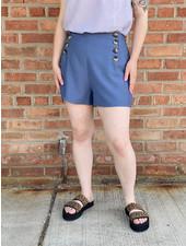 KLD Signature Blue 'Sail Away' Button Front Shorts