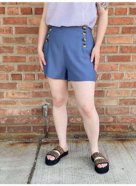 KLD Signature Blue 'Sail Away' Button Front Shorts ***FINAL SALE***