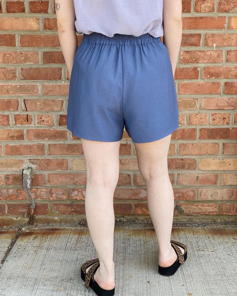 KLD Signature KLD Signature Blue 'Sail Away' Button Front Shorts