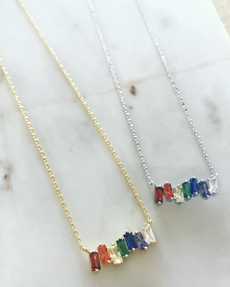 Must Have Must Have Dainty Necklace l Rainbow Baguette